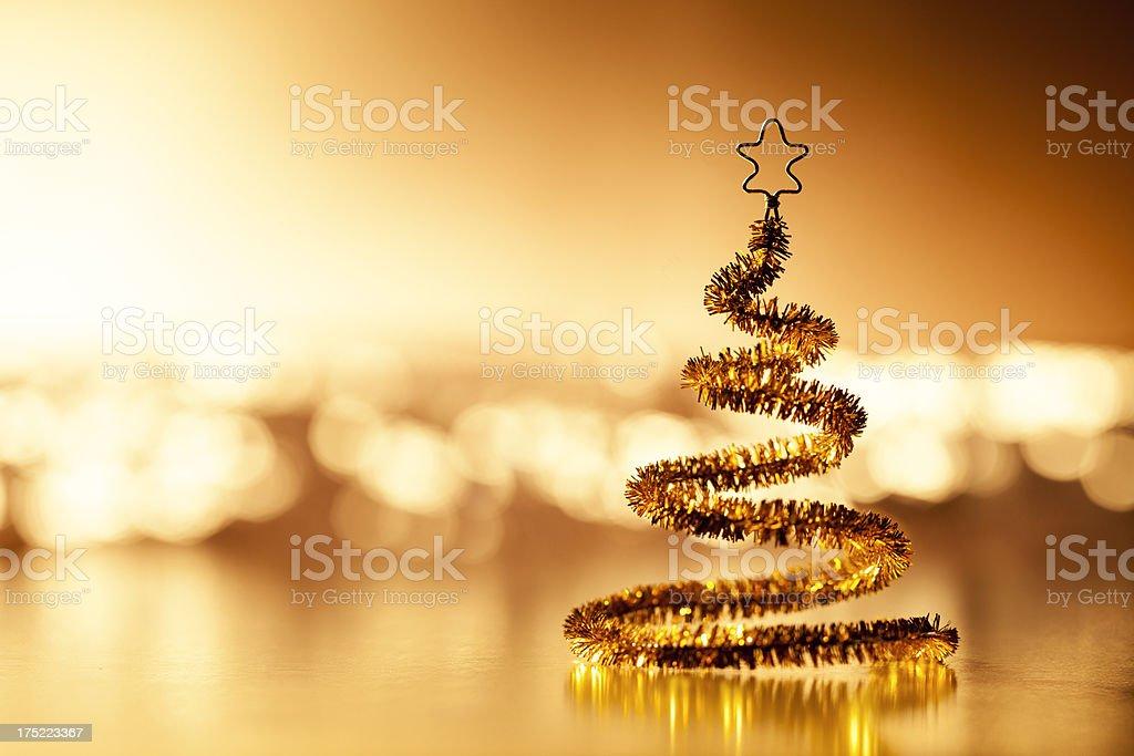 Christmas Tree - Glitter Defocused Light Gold Star royalty-free stock photo