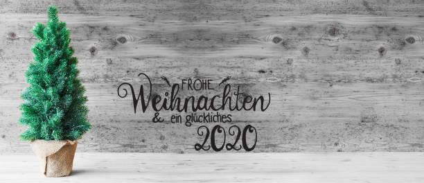 Weihnachtsbaum, Glueckliches 2020 bedeutet Happy 2020, schwarz und weiß – Foto