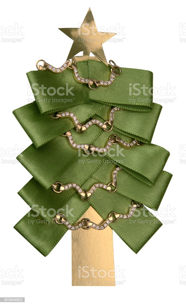 Christmas tree handmade isolated on white background stock photo