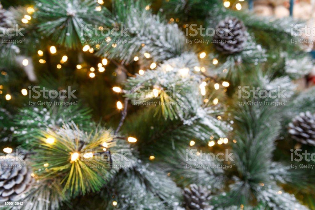 Christmas tree holiday background, closeup stock photo