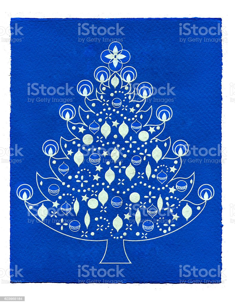 Christmas tree illustration with blue background stock photo