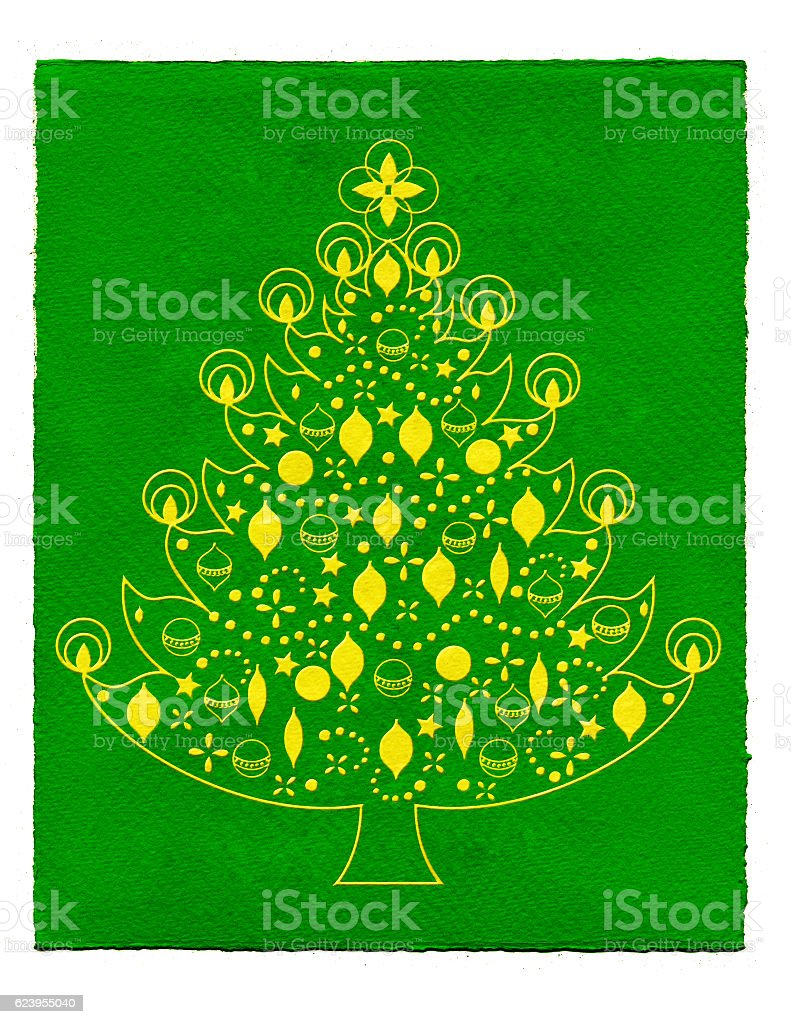 Christmas tree illustration with green background stock photo