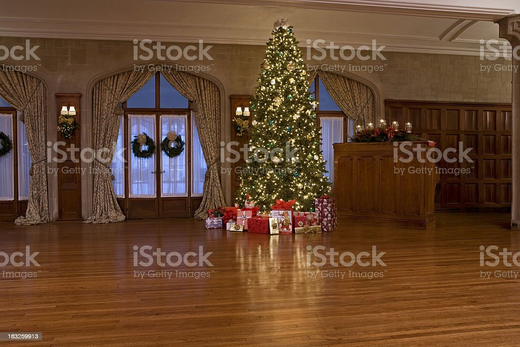 Christmas tree in 1900's period house royalty-free stock photo