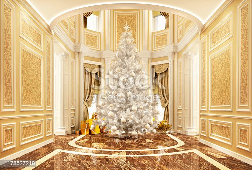 istock Christmas tree in a beautiful house 1178527216
