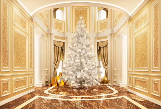 julgran i ett vackert hus - palats bildbanksfoton och bilder