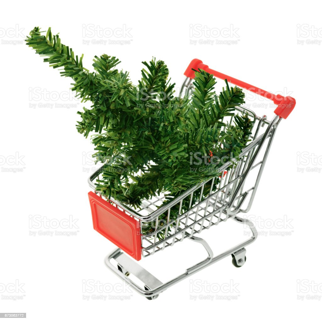 Christmas tree in a shopping cart royalty-free stock photo