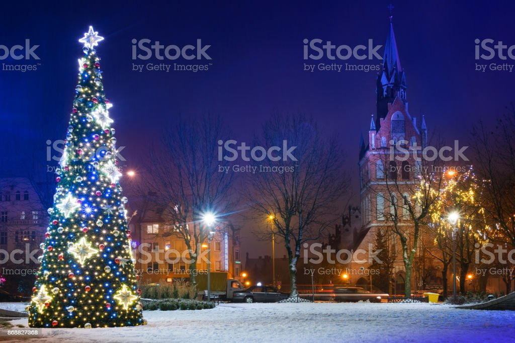Christmas tree in Elk City Center stock photo
