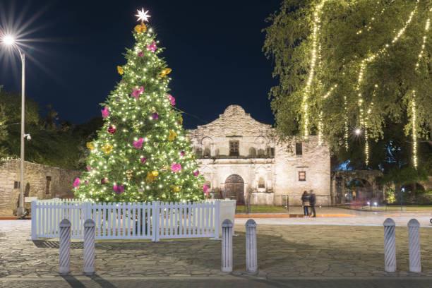 Christmas Tree in Front of the Alamo at Night Long Exposure stock photo