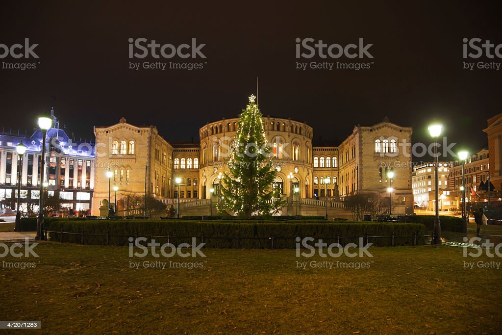 Christmas tree in front of the Norwegian Parliament royalty-free stock photo