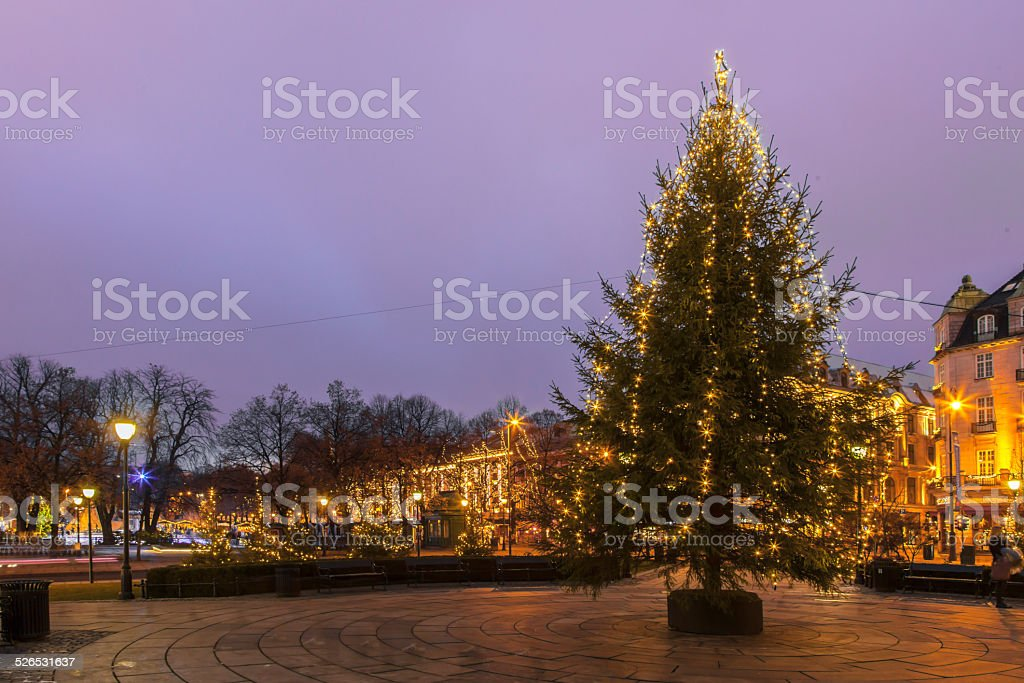 Christmas tree in front of the Norwegian Parliament stock photo
