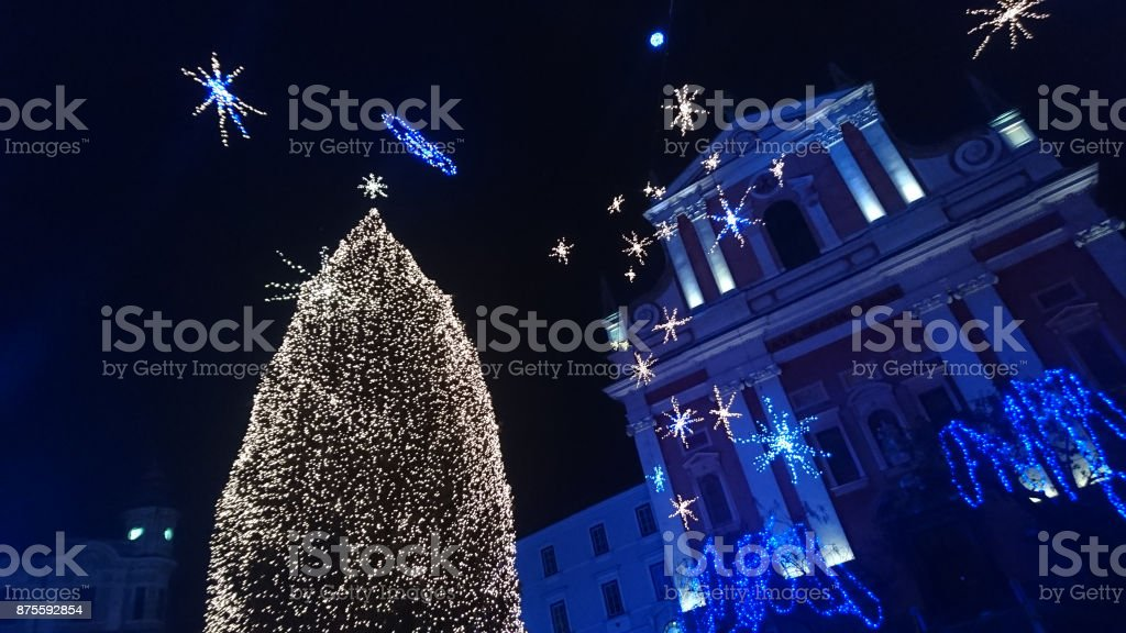 Christmas Tree in front the Franciscan Church in Christmas time, Ljubljana, Slovenia stock photo
