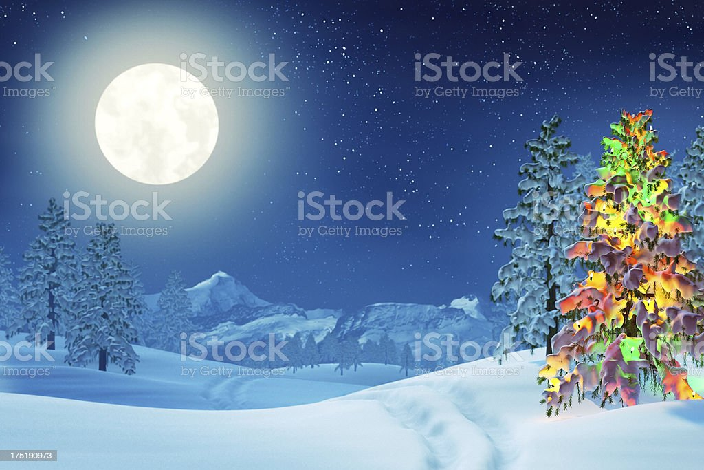 Christmas tree in moonlit winter landscape at night stock photo
