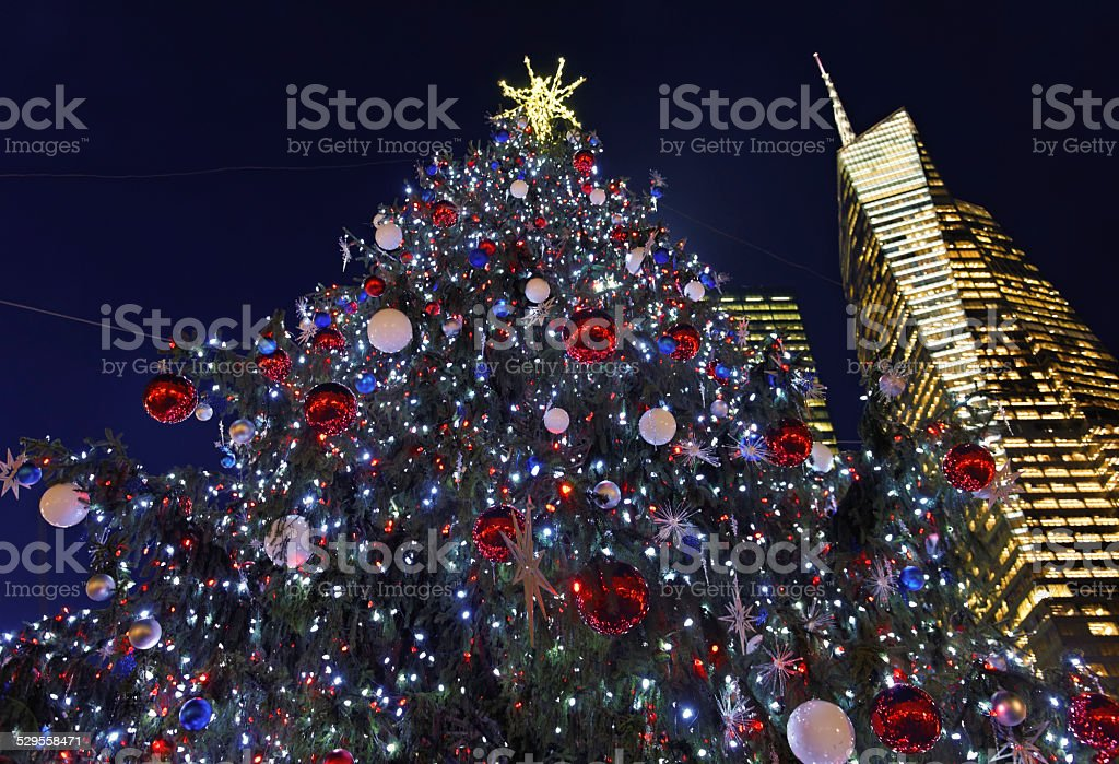 Christmas tree in New York City stock photo