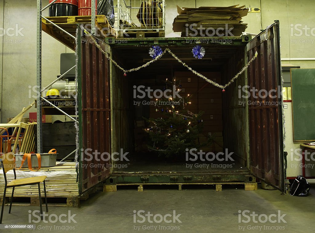 Christmas tree in open container in warehouse 免版稅 stock photo