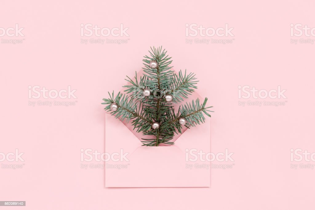 Christmas tree in pink envelope