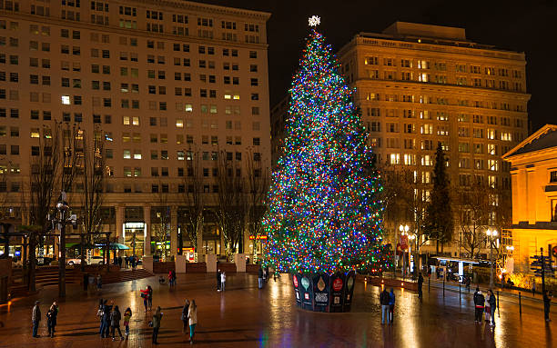 Christmas Tree in Portland, OR - foto stock