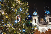 Christmas tree and Tyn church at Old town square. Prague, Czech Republic