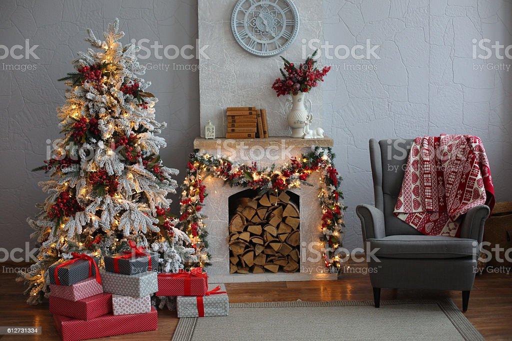 Christmas Tree in Room, Xmas Home Night Interior stock photo