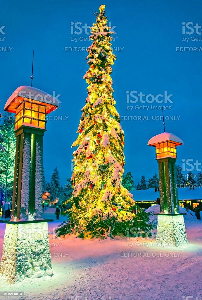 Christmas tree in Santa Claus village at Arctic Circle stock photo