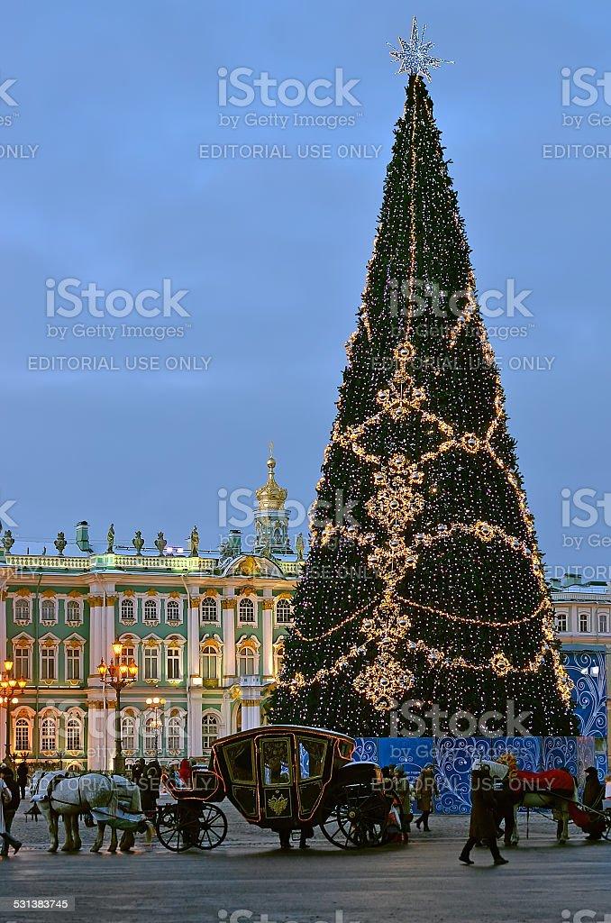 Christmas tree in St Petersburg, Russia stock photo