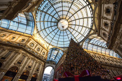 Christmas tree in the Galleria Vittorio Emanuele II, Milan Italy
