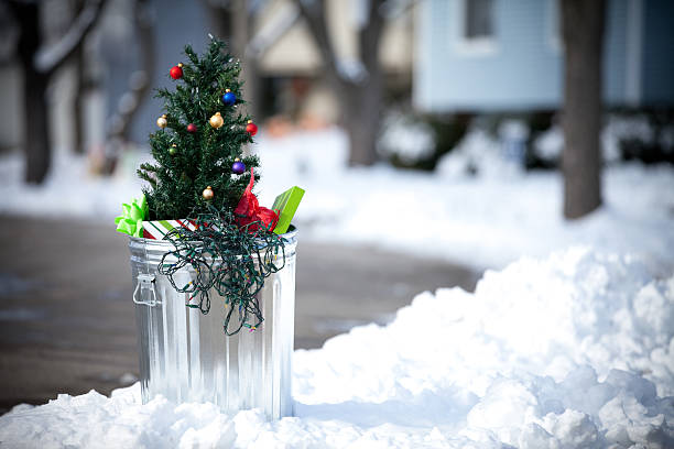Christmas Tree in the Garbage stock photo