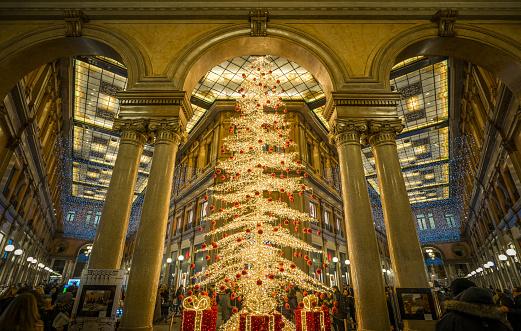 Christmas tree in the Sordi Gallery in Rome. December-22-2017