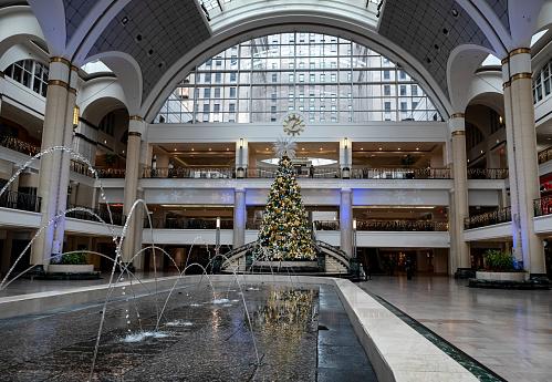 Cleveland, Ohio, USA - 22 November, 2018: Christmas tree in Tower City Center in Downtown Cleveland, Ohio, USA
