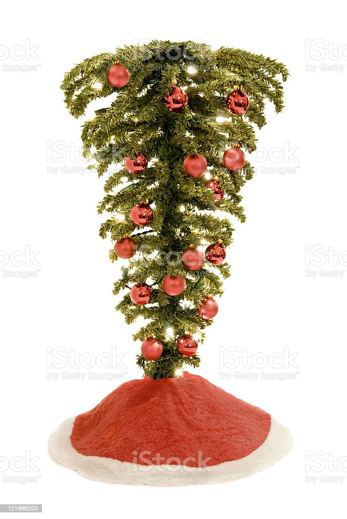 Árbol de Navidad en posición invertida Aislado en blanco - foto de stock