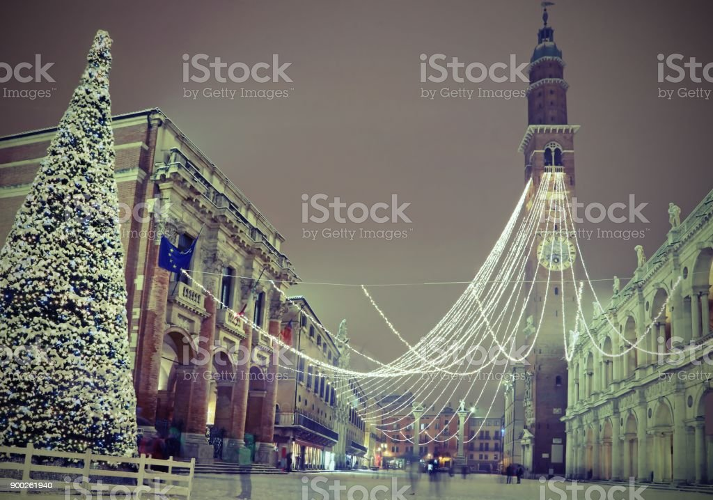 Christmas tree in Vicenza City in Northen Italy and the main monument called Basilica Palladiana with vintage effect stock photo