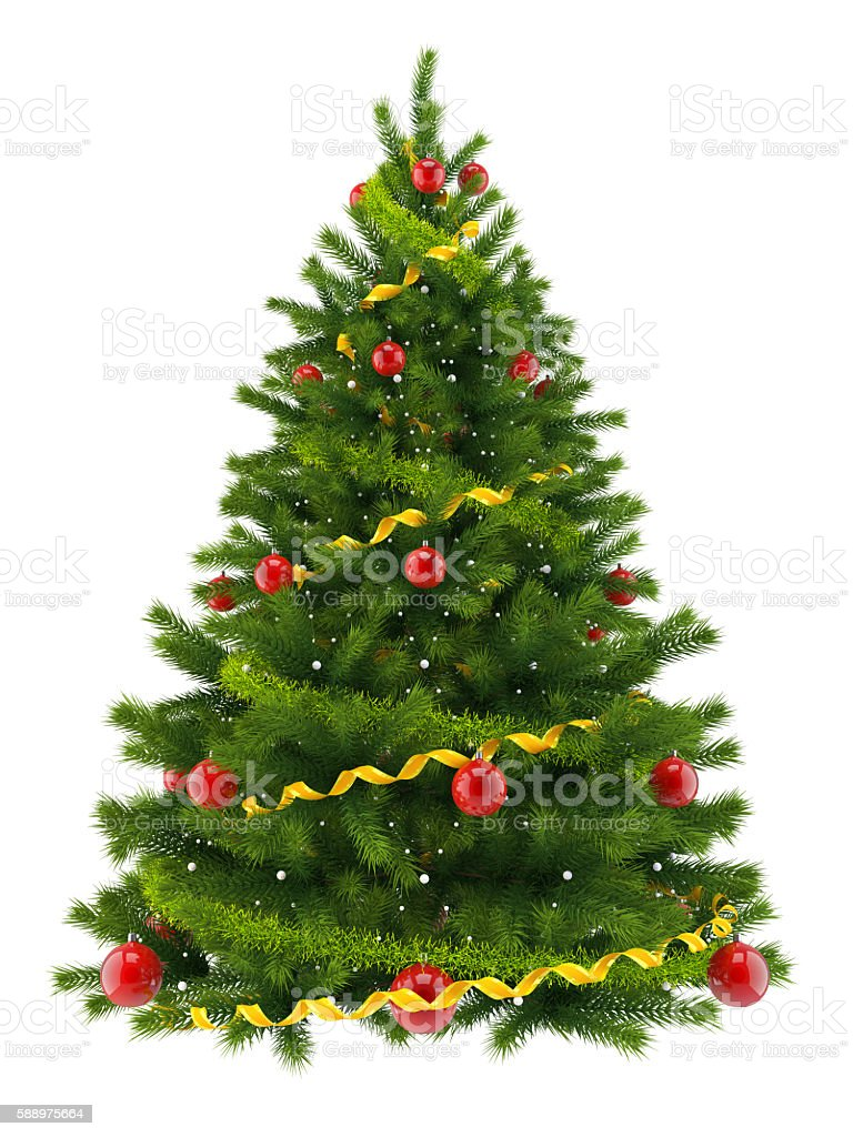 Christmas tree, isolated on white background stock photo