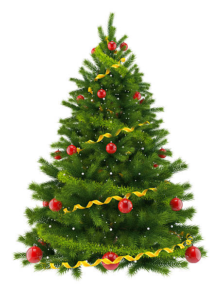 christmas tree, isolated on white background - christmas tree stock photos and pictures