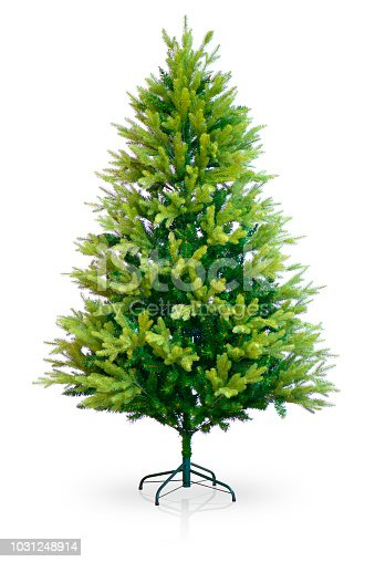 Christmas Tree on White Background with Reflection and Shadow