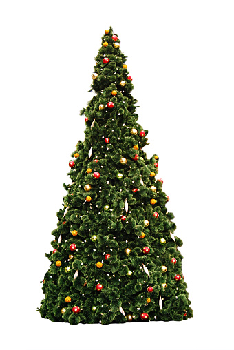 Christmas Tree decorated with baubles Isolated over white. Soft edges.