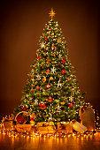 istock Christmas Tree lighting in night, Xmas Decorations, Present Gifts 1063204676