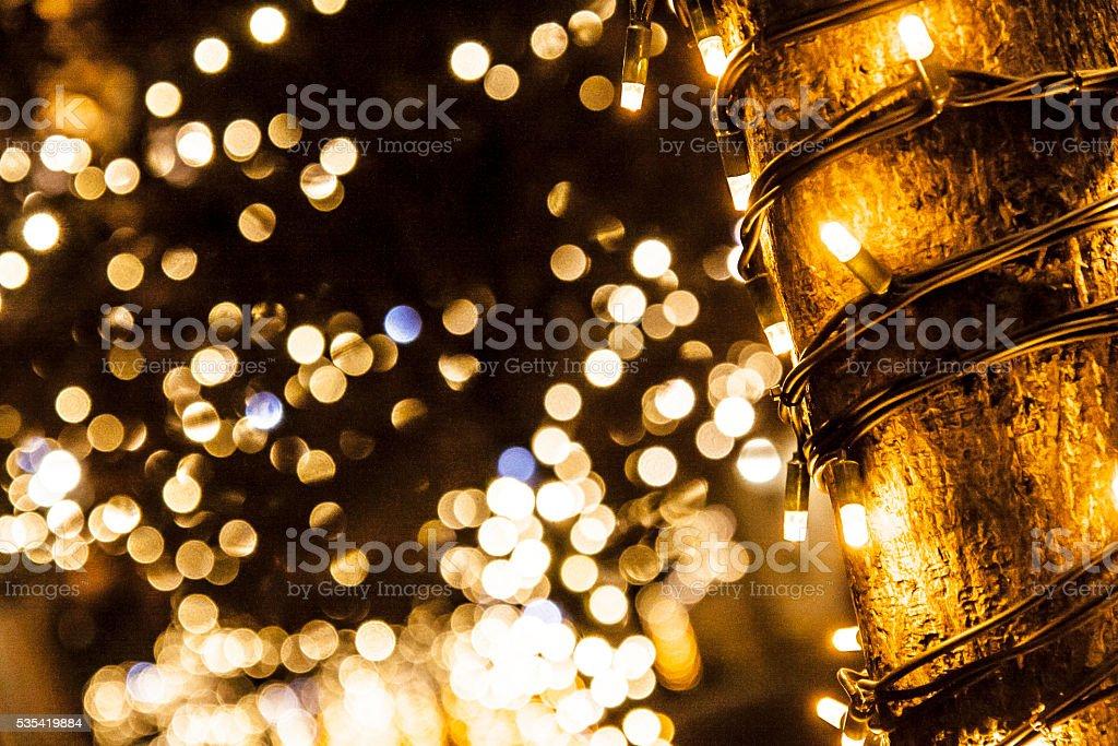 Christmas tree lights stock photo