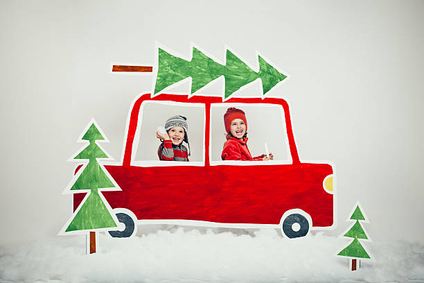 weihnachtsbaum-lot - drive illustration stock-fotos und bilder