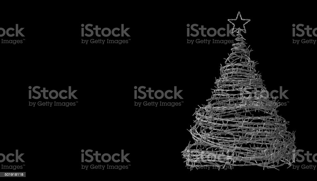 Christmas Tree Made From Barbed Wire On Black Background stock photo