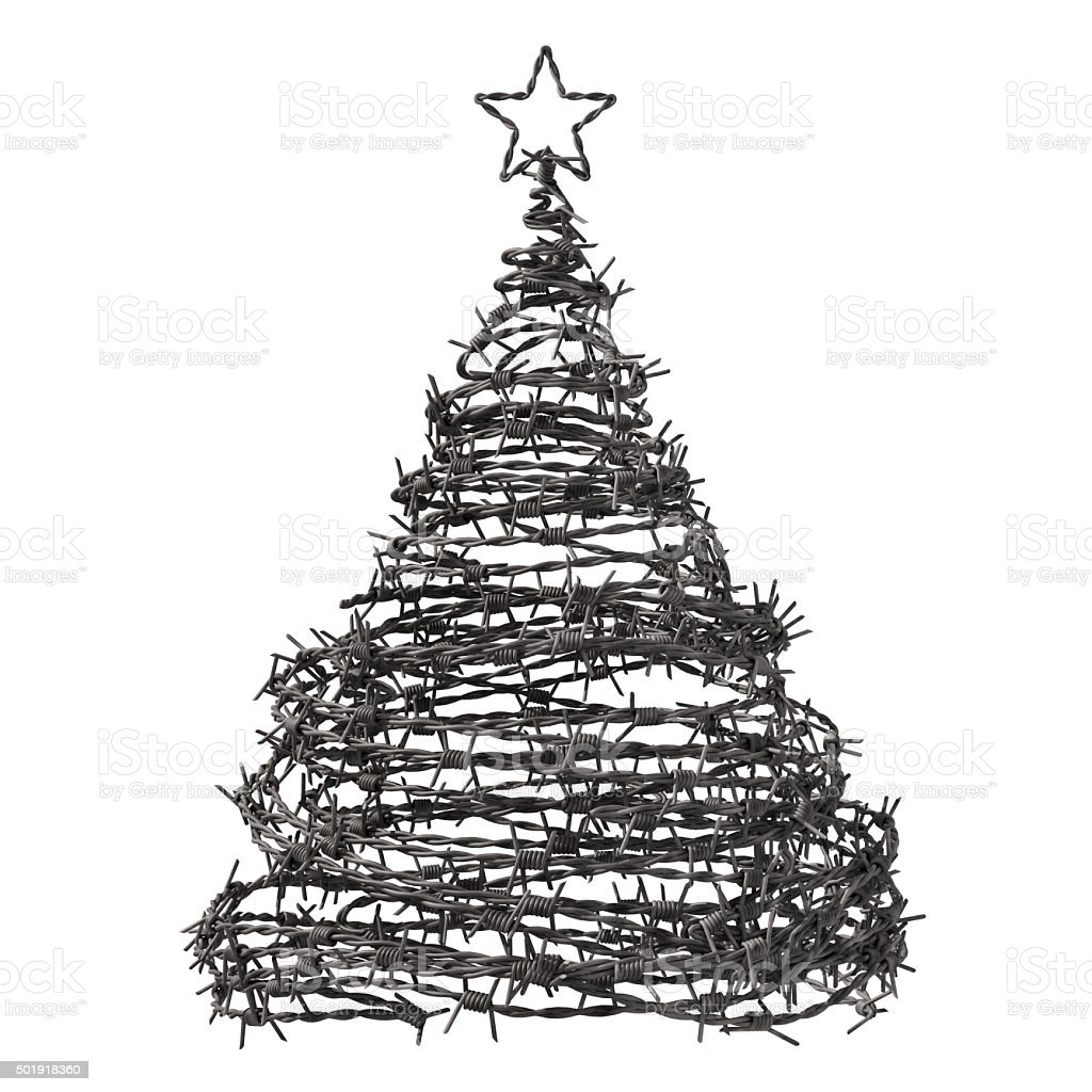 Christmas Tree Made From Barbed Wire stock photo