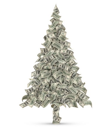 Christmas Tree Made From Dollars Stock Photo - Download Image Now