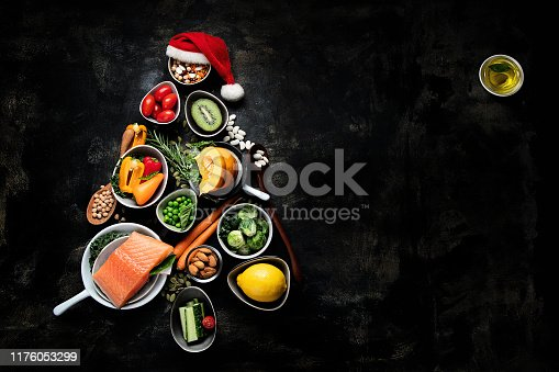istock Christmas tree made from healthy food 1176053299