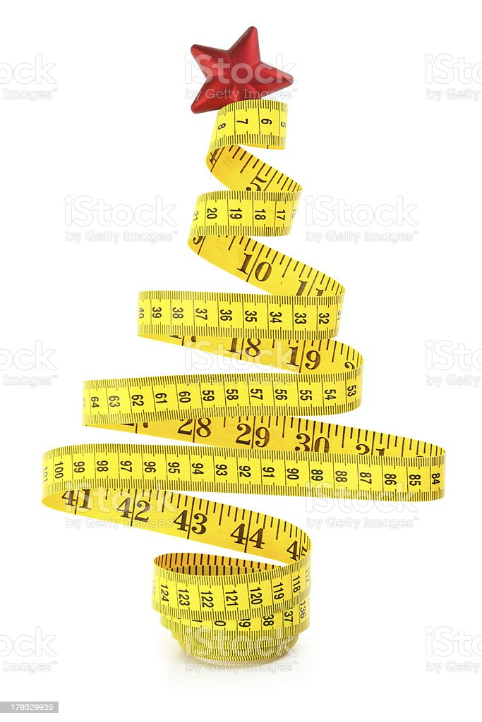 Christmas tree made from measure tape stock photo