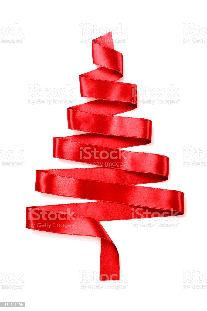 Christmas tree made of a red ribbon stock photo