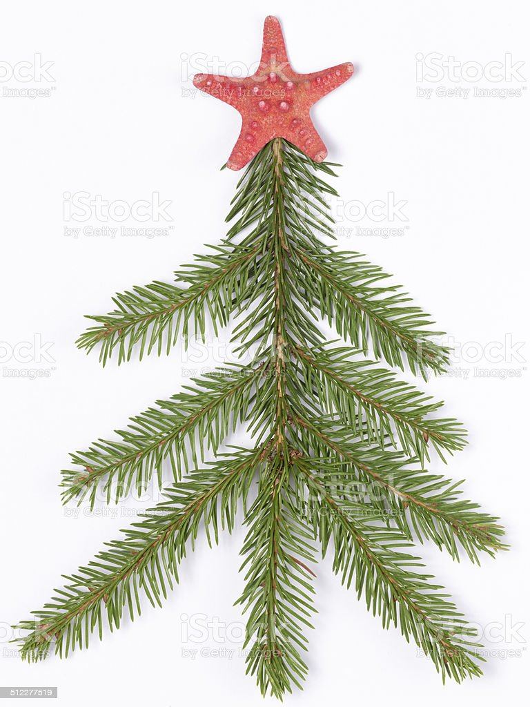 Christmas tree made ​​of branches stock photo
