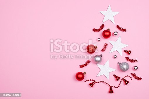 istock Christmas tree made of decoration accessories. 1085720580