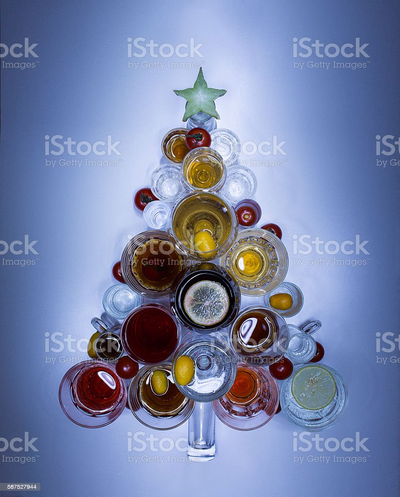 Christmas tree made of drinks. close up stock photo