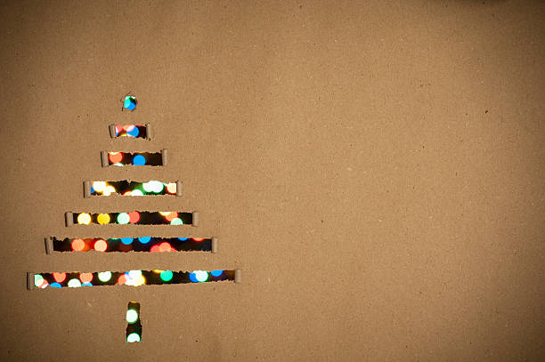 Christmas tree made of paper as background stock photo