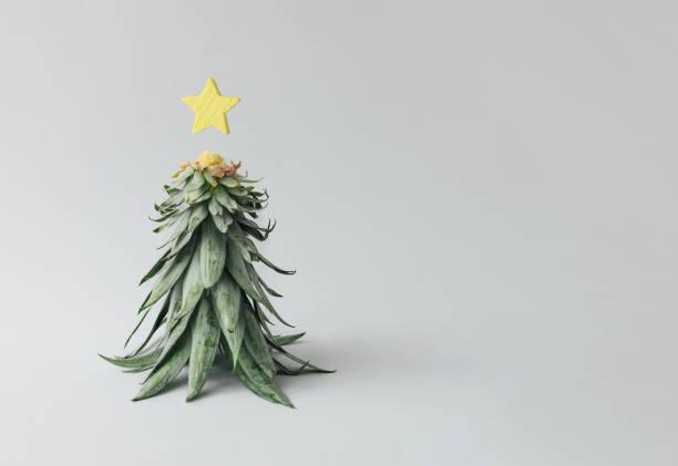 weihnachtsbaum von ananas und weihnachten sterne dekoration gemacht. ferienkonzept. - weihnachtsessen ideen stock-fotos und bilder