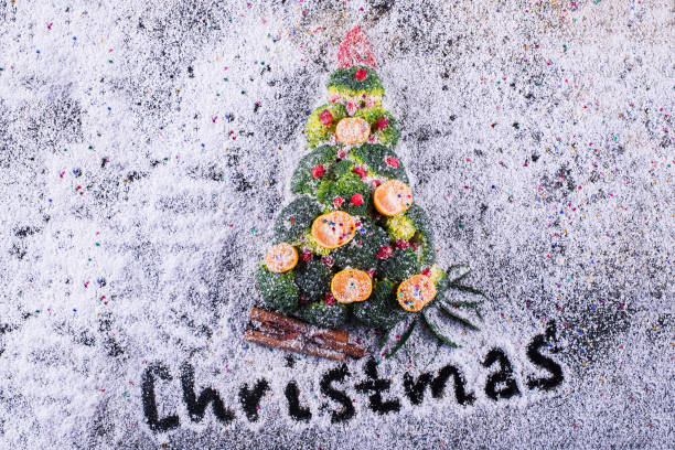 Christmas tree made of vegetables stock photo