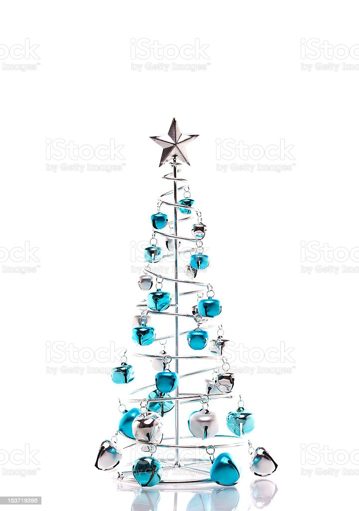 Christmas tree made out of blue and silver jingle bells royalty-free stock photo